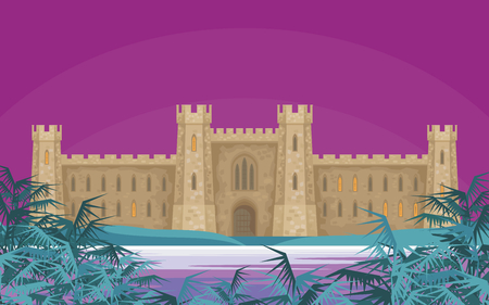 Abstract image of a medieval English castle. Beautiful summer landscape. Vector background. Illustration