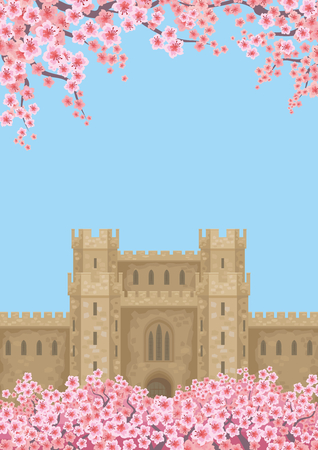 Abstract image of a medieval English castle. Beautiful spring landscape. Vector background.