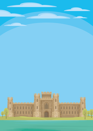 Abstract image of a medieval English castle. Beautiful summer landscape. Vector background. Ilustração