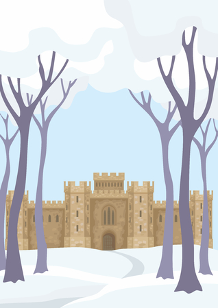 Abstract image of a medieval English castle. Beautiful winter landscape. Vector background.