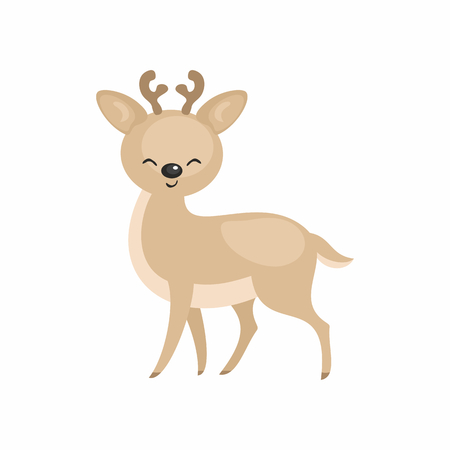 The image of a cute cartoon reindeer. Vector illustration. Çizim