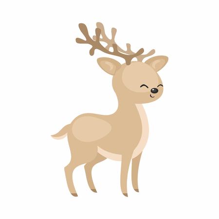 The image of a cute cartoon reindeer. Vector illustration. Иллюстрация