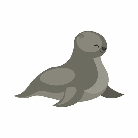 The image of a cute cartoon seal. Vector illustration.
