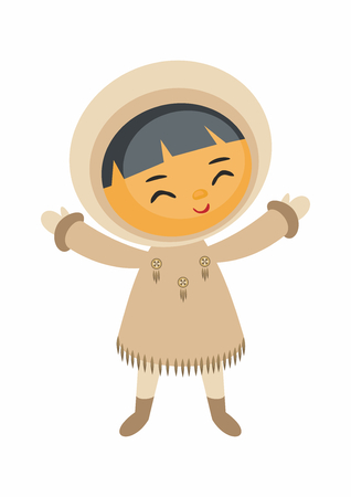 Cute cartoon eskimo boy vector illustration. Çizim