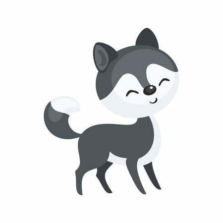 Cute cartoon husky dog vector illustration. Иллюстрация