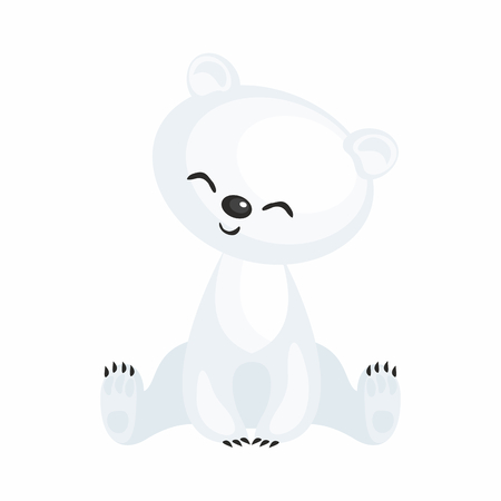 The image of a cute cartoon polar bear. Vector illustration.