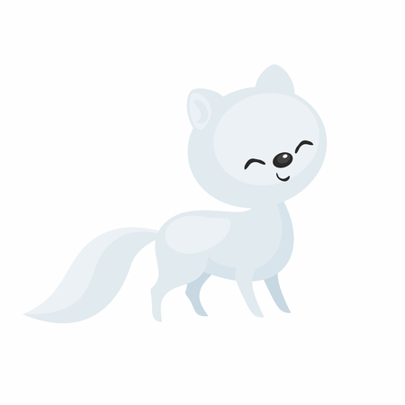The image of a cute cartoon polar fox. Vector illustration. Çizim