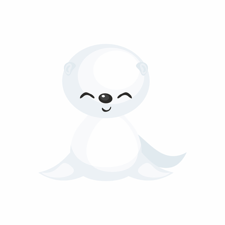 The image of a cute cartoon seal cub. Vector illustration. Çizim