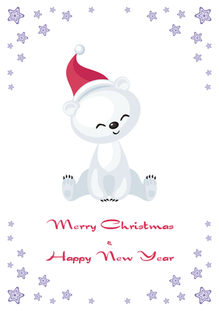 Christmas greeting card with cute polar bear cub.