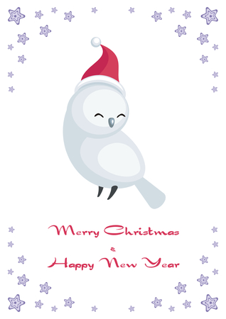Christmas greeting card with cute owl.