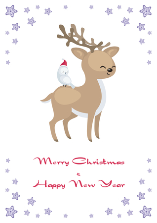 Christmas greeting card with cute animals.