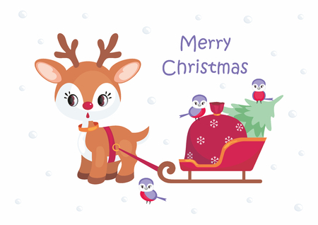 Christmas greeting card with the image of the little cute deer. Vector illustration.
