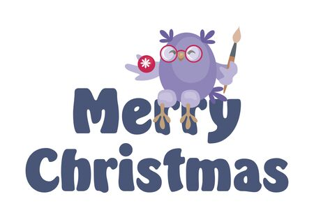 Christmas greeting card with the image of funny owls. Full color vector illustration.