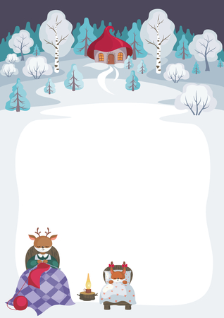 Children's background with the image of funny forest animals and winter landscape. Vectores