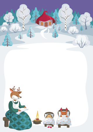 Children's background with the image of funny forest animals and winter landscape. Illustration