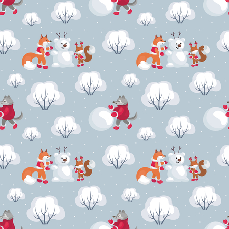Children's seamless pattern with the image of funny woodland animals and snowmen.