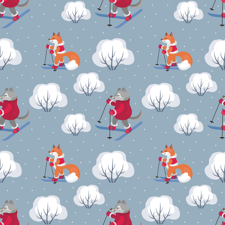 Children's seamless pattern with the image of funny forest animals and winter landscape. Vector background. Vectores