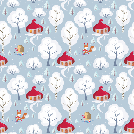 Childrens seamless pattern with the image of funny forest animals and winter landscape. Vector background. Illustration