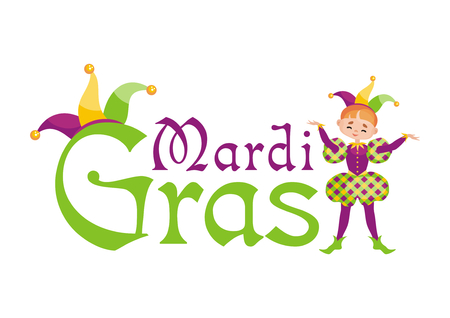 Mardi Gras vector illustration with the image of the boy in a carnival costume.