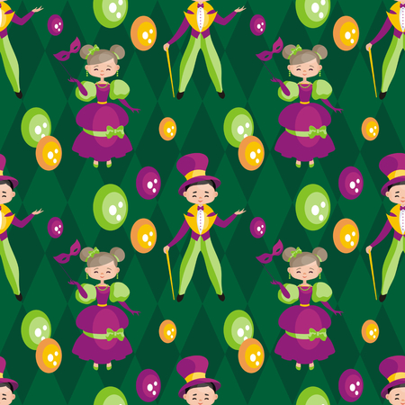 Mardi Gras seamless pattern with the image of the people in carnival costumes. Vector background. Illustration