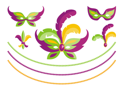 Mardi Gras traditional elements of carnival. Vector set.