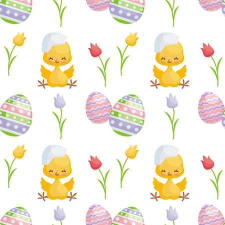 Easter seamless pattern with the image of cute chicks and painted eggs. Vector background. Ilustração