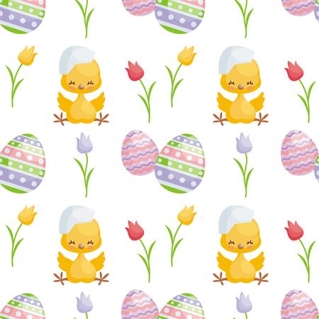 Het naadloze patroon van Pasen met het beeld van leuke kuikens en geschilderde eieren. Vector achtergrond