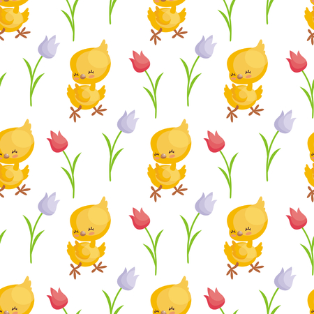 Easter seamless pattern with the image of cute chicks. Vector background.