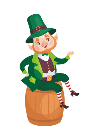 Image of a leprechaun in cartoon style. Saint Patrick's Day illustration isolated on the white background.