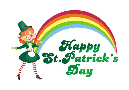 Saint Patricks Day poster with the image of a leprechaun girl. Vector illustration isolated on the white background.