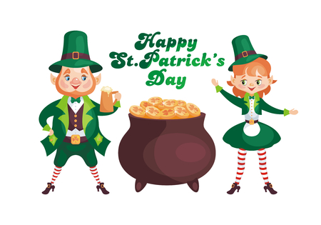 Saint Patricks Day poster with the image of a leprechauns. Vector illustration isolated on the white background