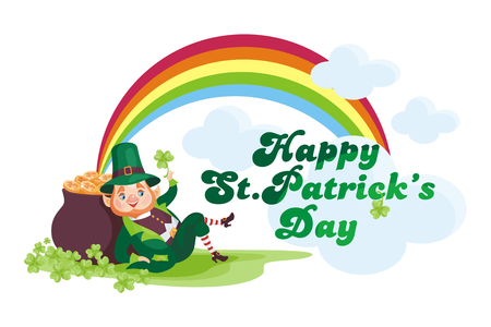 Saint Patricks Day poster with the image of a leprechaun. Vector illustration isolated on the white background