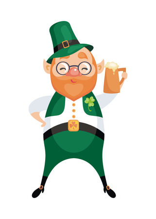 Image of a leprechaun in cartoon style. Saint Patricks Day illustration isolated on the white background.