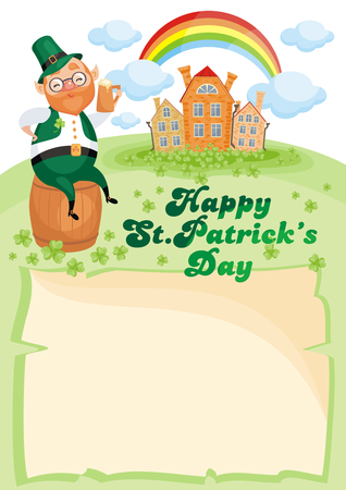 Saint Patricks Day background with the image of a leprechaun. Vector colorful illustration in cartoon style.
