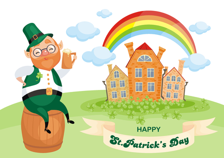 Saint Patricks Day poster with the image of a leprechaun. Vector colorful illustration in cartoon style. Illustration
