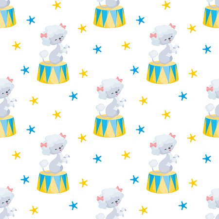 Childrens seamless pattern with the image of circus trained animals. Colorful vector background. Ilustração