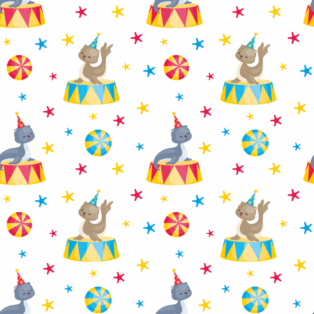 Childrens seamless pattern with the image of circus trained animals. Colorful vector background. Illustration