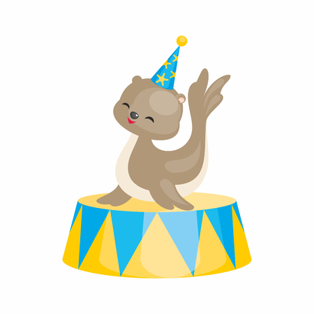 A Vector image of a trained circus animal in a cartoon style. Colorful illustrations isolated on white background.