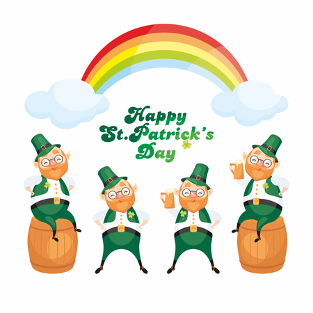 Images of a leprechauns in a cartoon style. Saint Patricks Day illustrations isolated on the white background. Vector set. Illustration