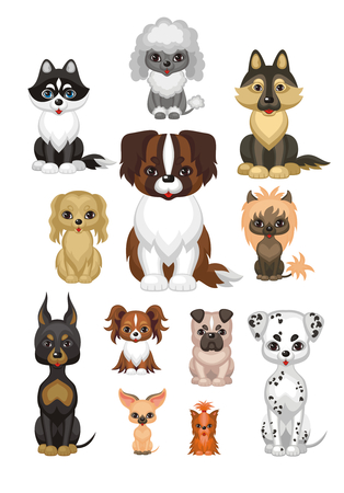 Images of a cute purebred dogs in a cartoon style. Vector illustrations isolated on white background. Vettoriali