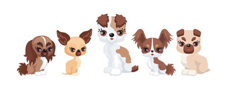 Images of a cute purebred dogs in a cartoon style. Vector illustrations isolated on white background. Illustration