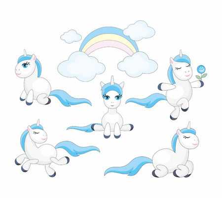 Vector set of beautiful fantastic unicorns. Colorful illustrations isolated on a white background. Illustration
