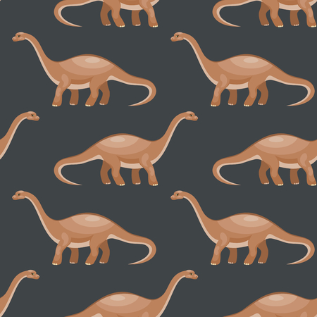 Colorful seamless pattern with the image of funny dinosaurs in cartoon style. Vector background.