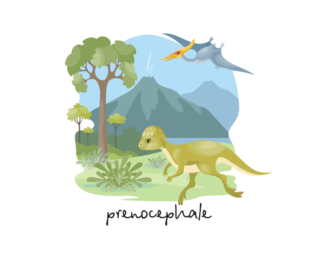 The image of a dinosaur against the background of a prehistoric landscape. Colorful vector illustration. Stock Vector - 96786589