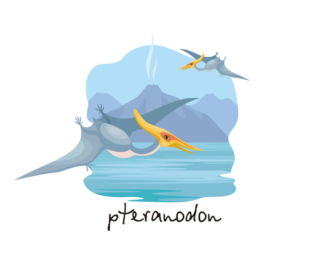 The image of a pterosaur against the background of a prehistoric landscape. Colorful vector illustration.