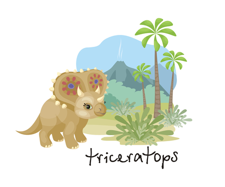 The image of a dinosaur against the background of a prehistoric landscape. Colorful vector illustration.