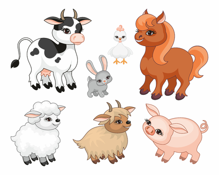 The image of cute farm animals in cartoon style. Illustration