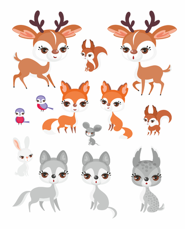 The image of cute forest animals in cartoon style.
