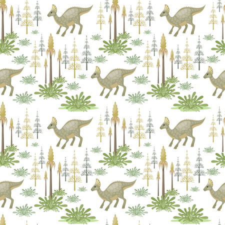 Colorful pattern with the image of funny dinosaurs in cartoon style.