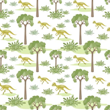 Pattern of green trees and dinosaur Illustration